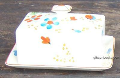 Vintage James Kent Fenton Pottery Butter Dish Decorated With Deco Flowers
