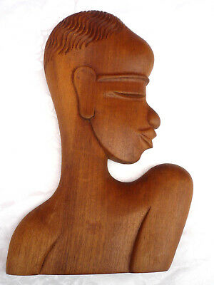 """Vintage 13"""" Wood Carved African Tribal Face Head Shoulders Profile Wall Plaque"""