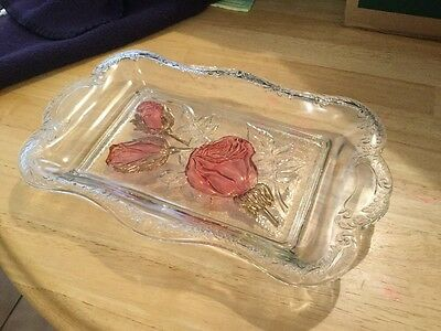 Early American Pressed Glass Bread Tray With Red Roses And Gold
