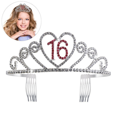 PIXNOR Birthday Party Rhinestone Crystal Tiara Crown - Sweet 16 Birthday Tiara