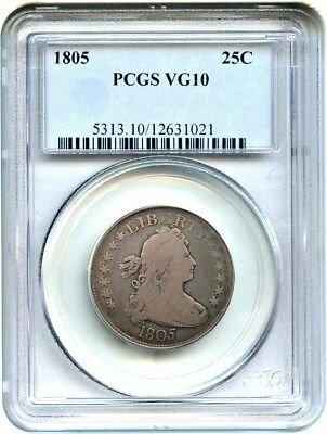 1805 25c PCGS VG-10 - Early Bust Half - Bust Quarter - Early Bust Half