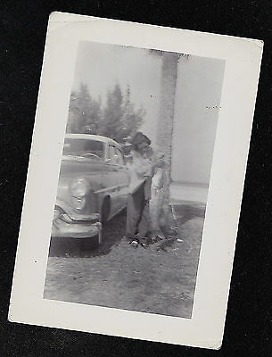 Old Antique Vintage Photograph Woman Holding Huge Fish By Antique Car