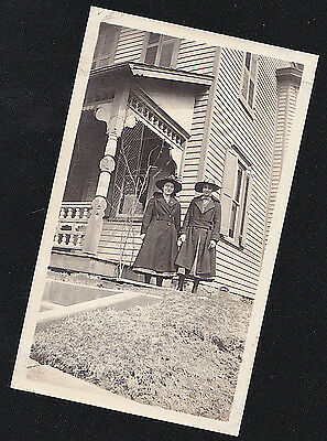 Antique Vintage Photograph Two Women in Cool Outfits Standing in Front of House