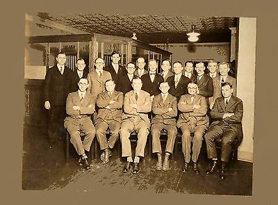 Old Vintage Antique Photograph Men In Suits By Bank Teller Window