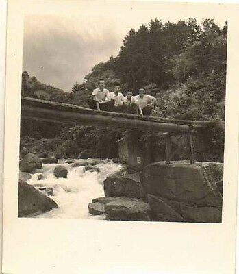 Old Antique Vintage Photograph Four Young Men Squating Down on A Bridge