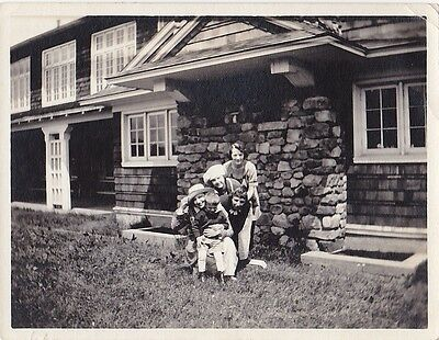 Old Antique Vintage Photograph Four Women in Hats & Little Boy Posing By House