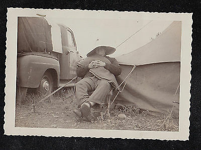 Old Vintage Antique Photograph Man in Crazy Hat Sitting By Truck & Tent