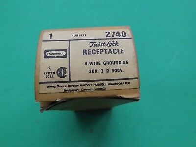 1 New Old Stock HUBBELL 2740 3P 30A 4 Wire 600V TWIST LOCK RECEPTACLE