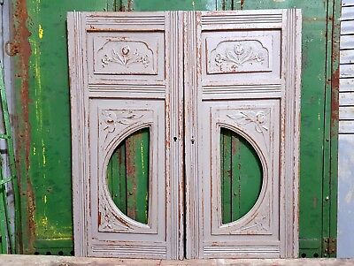 "Shabby Carved Wood Cabinet Panel Door 26"" Matched Pair Antique French Flower"