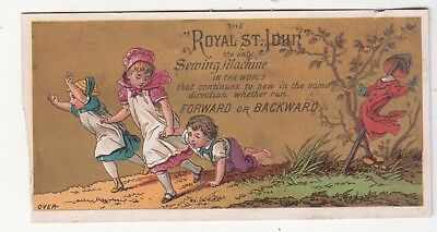 Royal St John Sewing Machine Scarecrow Running Down Hill Song Vict Card  c1880s