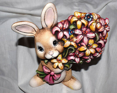 """Estate 7-1/2"""" tall Hand Painted Ceramic Bunny with Big Bouque of Flowers=Easter"""