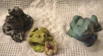 Frog Figurine Lot, 3 Different Frogs