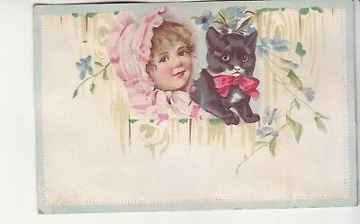 Girl in Pink Bonnet Black Kitten Wood Fence No Advertising Vict Card c1880s