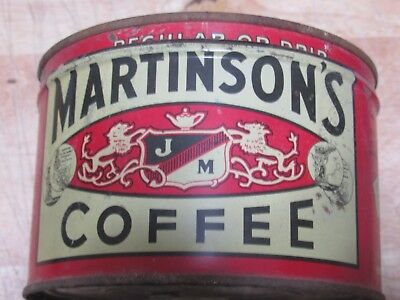 Red 1940s MARTINSON'S One Pound Coffee tin can Jos. Martinson New York