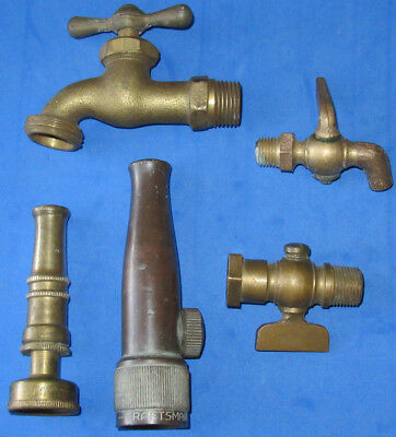 Vintage brass fitting valve spigot water nozzle lot steampunk Ashton Craftsman
