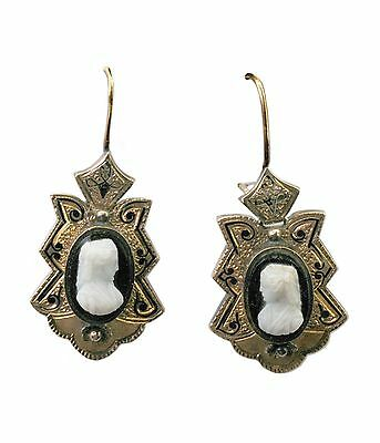 Antique mid 1800s Hard Stone Cameo Gold Enamel Large  Earrings  SALE!