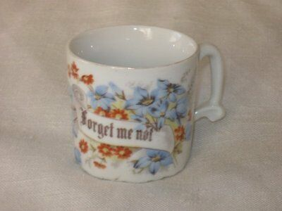 Vintage Antique Victorian Forget Me Not Porcelain Cup White Blue Flowers Germany
