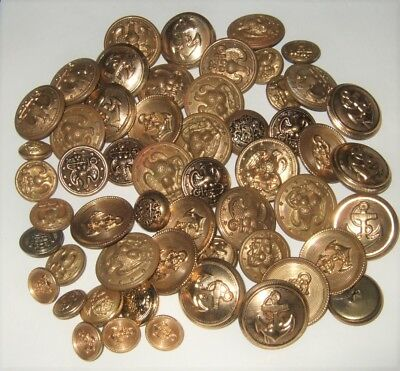 Vintage Buttons Collection Brass Buttons Small Large 50 Nifty Brass Buttons Old