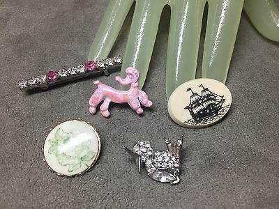 Lot of 5 FIVE Vintage Multi Themed Rhinestone Enamel Costume Jewelry Style Pins