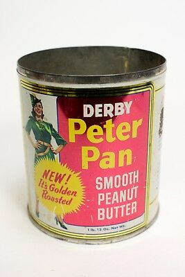 Vintage Key Wind Derby Peter Pan Peanut Butter Advertising 1LB Tin Can NO Top