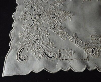 8 EMBROIDERED LINEN PLACEMATS & RUNNER w/ OPENWORK  - EXQUISITE! TT432
