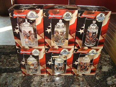Budweiser Honoring Tradition And Courage Stein Set – 6 In All – Free Shipping