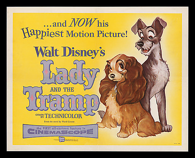 1955 Walt Disney ☆ Lady And The Tramp ☆ Movie Poster ☆ Top Museum Linen-Mounted!