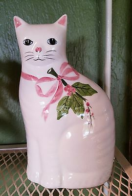 N.S Gustin Ceramic Cat/Kitty White w/Pink Bow Holly HAND DECORATED U.S.A.