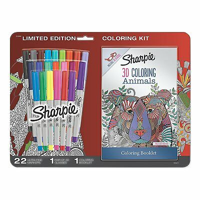 Sharpie 24 Assorted Ultra Fine Permanent Markers with Coloring Book & 3D Glasses