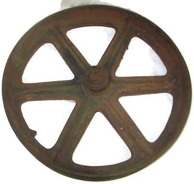 Old Large Spoked Cast Iron 18 Inch Wheel Factory Coffee Table Cart - Industrial