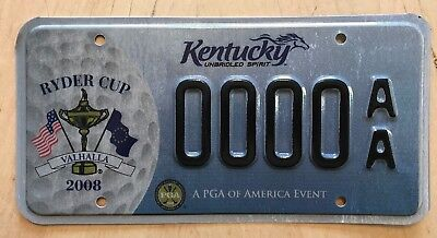 "Kentucky Rider Cup Golf Valhalla Sample License Plate "" 0000 Aa "" Pga Event Ky"