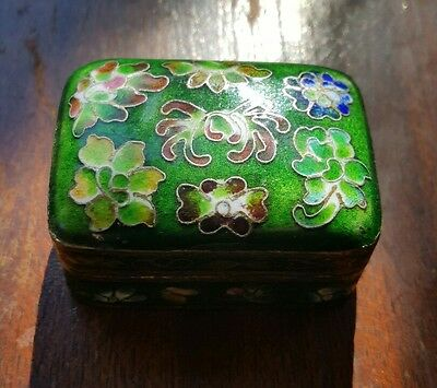 Vtg Chinese Cloisonne Little Trinket Ring Box 2in x 1.5in x 1in