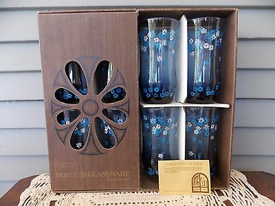 8 Piece Libbey Hostess Glassware Blue Glass Tumblers with White & Blue Daisies