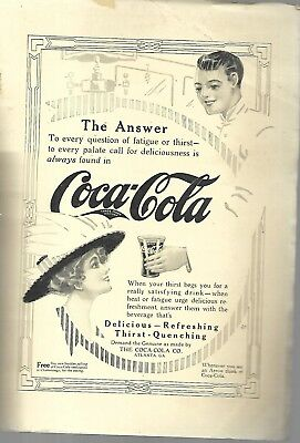 "1912 Magazine ""the Answer ~ Coca-Cola""  Soda Jerk Handing To Woman With Arrow"