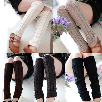 Women Girls Winter Warm Knit High Knee Leg Warmers Crochet Leggings Slouch Socks