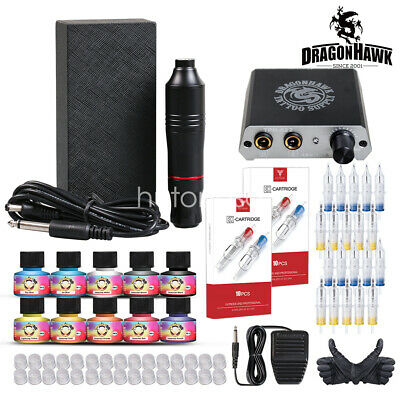 Beginner Tattoo Kit Set 40 color Inks Power Supply 2 TOP Machine Guns HW-10GD-8
