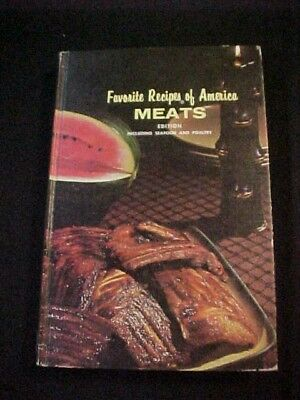 Vintage Antique 1960s Favorite Recipes of America Meats Cookbook Old TimeCooking