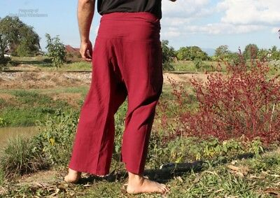 Aum Cotton Fisherman Pants Quality Casual Every Day In Auburn Red sz XL