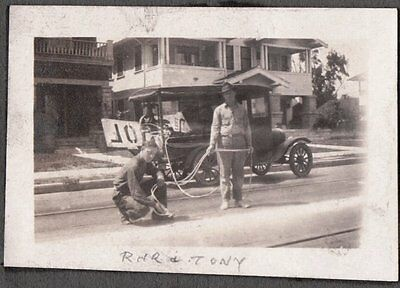 1924 Los Angeles California City Workers Spray Painting Roads Old Cars Photo