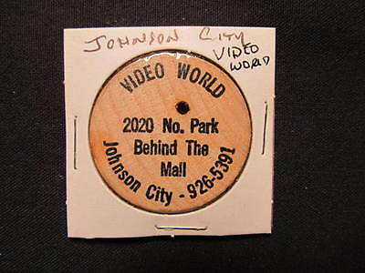 Johnson City, Tennessee Wooden Nickel token- Video World 2020 No. Park Wood Coin