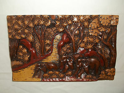 "Thick Hand Carved Detailed Elephants Going To Stream Scene 12"" Long X 7 1/2"""