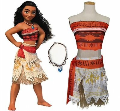 Moana Girls Fancy Dress Up Princess Kids Cosplay Necklace Costume Outfits 3-11 Y
