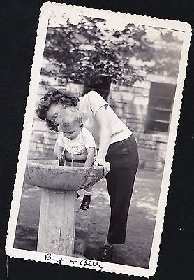 Old Vintage Antique Photograph Mom Helping Baby Drink From Water Fountain