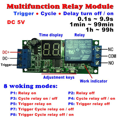 Qianson DC 5V Digital LED Display Cycle Delay Timer Switch ON/OFF Relay Module