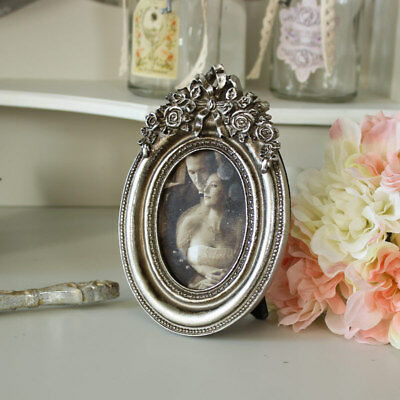 Silver oval ornate rose photograph frame shabby vintage chic photo display gift
