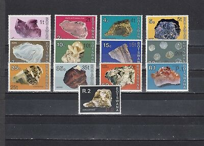 a137 - BOTSWANA - 1976 MNH BOTSWANA MINERALS SURCH IN NEW CURRENCY - 13 DIFF VAL