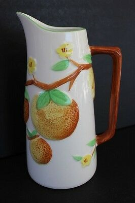 Vintage NAPCOWARE Ceramic Juice Pitcher Embossed Grapefruits Blossoms C-6240