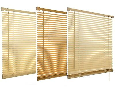 120cm PVC Venetian Blinds Wooden Wood Grain Effect Teak Natural Cream Window