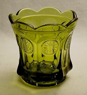 """Vintage Fostoria Coin Glass Olive Green 4 1/4"""" Flared Candy Bowl"""