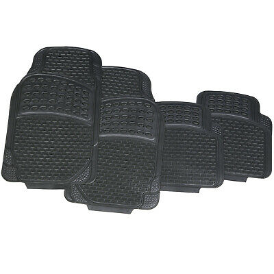 4 Piece Heavy Duty Universal Black Rubber Car Mat Set Non Slip Grip Van Mats